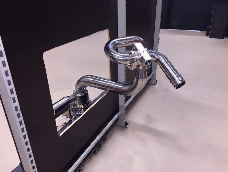 Unifire stainless steel Force 80 fire monitor on Swing Arm